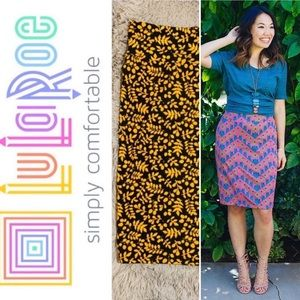 LulaRoe >NWT! Grey/Yellow Floral Cassie Skirt